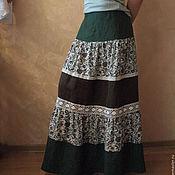 Одежда ручной работы. Ярмарка Мастеров - ручная работа Юбка кантри из льна Арт.020,зеленая многоярусная. Handmade.
