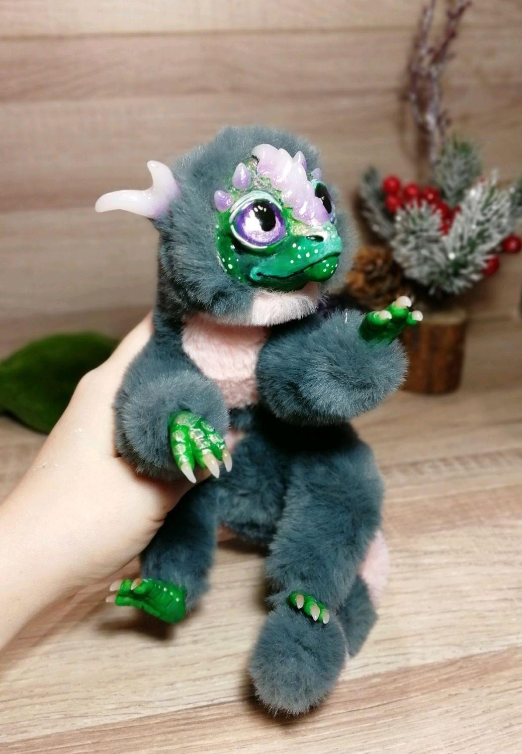 Пушистый серый дракон, Мягкие игрушки, Щелково,  Фото №1