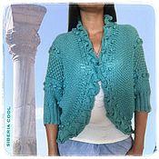 Одежда handmade. Livemaster - original item Bolero women`s Sea foam, Tea, knitting, braids, openwork, viscose. Handmade.