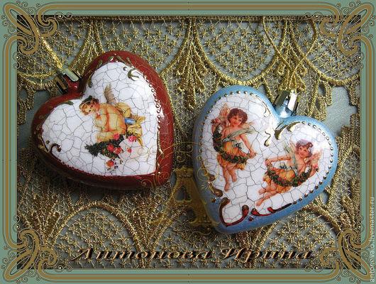 """Набор елочных игрушек-""""Два сердца"""",для дома ручной работы.Антонова Ирина.Ярмарка Мастеров."""