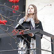 Одежда ручной работы. Ярмарка Мастеров - ручная работа Зима в Эдеме. Кардиган вязаный из шерсти чёрный с крупными цветами. Handmade.