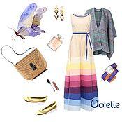 Одежда handmade. Livemaster - original item gown tiered summer long linen beige stripe for summer. Handmade.