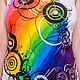 Футболки, майки ручной работы. Ярмарка Мастеров - ручная работа. Купить Crazy rainbow. Handmade. Абстрактный, футболки на заказ, кисти