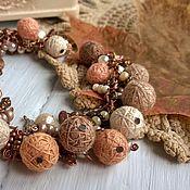 Украшения handmade. Livemaster - original item Bracelet on a Chain Fruit Tiramisu Textile Beige Taupe Boho. Handmade.