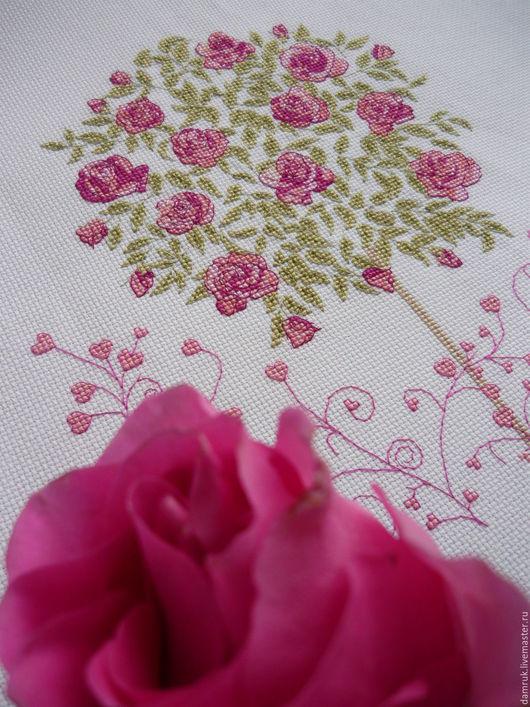 Текстиль, ковры ручной работы. Ярмарка Мастеров - ручная работа. Купить Сад Любви. Ручная вышивка. Handmade. Розовый