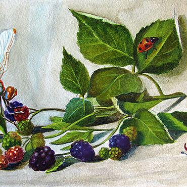 """Картины и панно ручной работы. Ярмарка Мастеров - ручная работа """"Ежевика на троих"""". Handmade."""