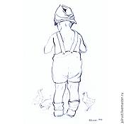 Картины и панно ручной работы. Ярмарка Мастеров - ручная работа Картина Ровесники, рисунок карандашом графика серый белый. Handmade.