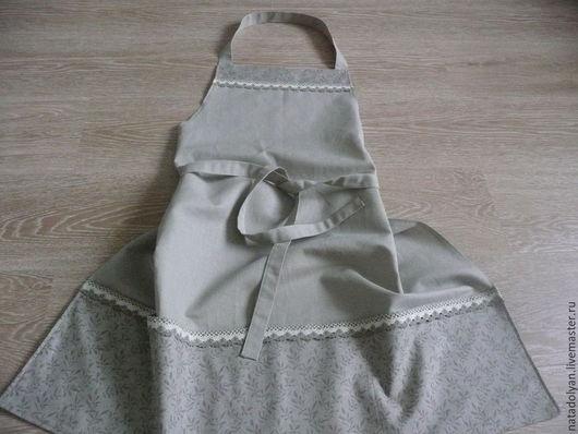 """Кухня ручной работы. Ярмарка Мастеров - ручная работа. Купить Фартучек льняной """" В природном цвете"""". Handmade. Серый"""