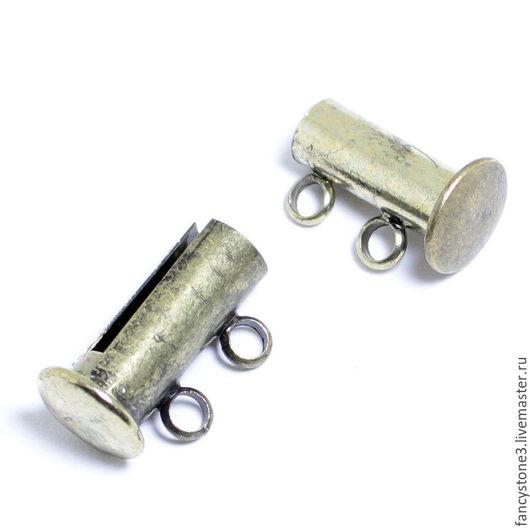 Для украшений ручной работы. Ярмарка Мастеров - ручная работа. Купить Замок магнитный слайдер на две нити, бронза, для украшений. Handmade.