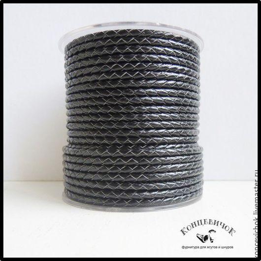 Для украшений ручной работы. Ярмарка Мастеров - ручная работа. Купить Черный Плетеный кожаный шнур 4мм Индия. Handmade.