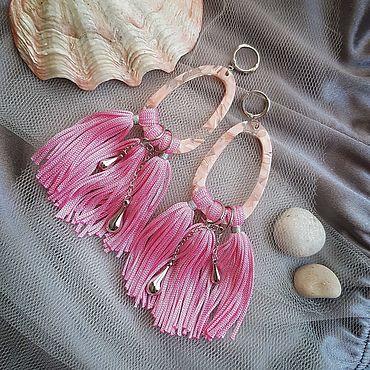 Украшения ручной работы. Ярмарка Мастеров - ручная работа Серьги с бахромой розовые. Handmade.