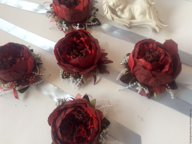 Браслет подружки невесты марсала
