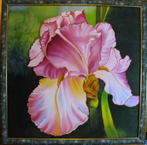 Картины цветов ручной работы. Ярмарка Мастеров - ручная работа. Купить Картина РОЗОВОЕ ЧУДО. Handmade. Батик, ирис, цветы
