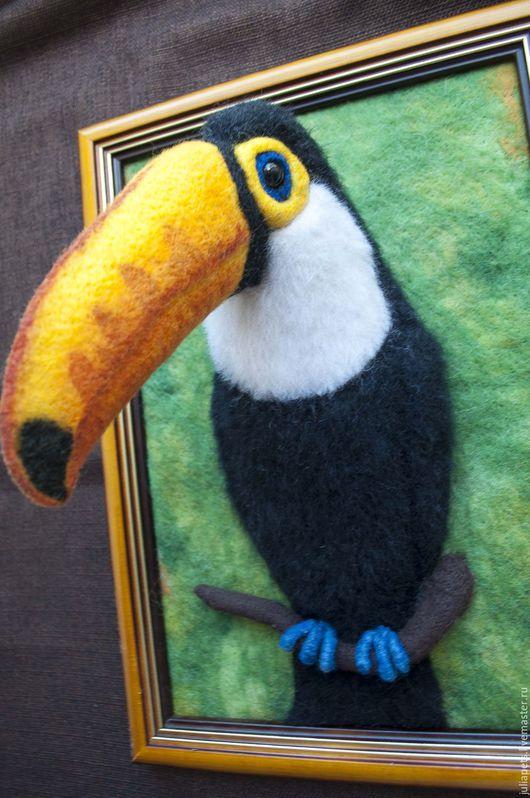 Животные ручной работы. Ярмарка Мастеров - ручная работа. Купить Панно птицы тукан. Handmade. Комбинированный, экзотическая птица