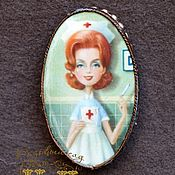 Brooches handmade. Livemaster - original item Brooch decoupage for nurse doctor original gift to medic. Handmade.