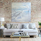 Картины и панно handmade. Livemaster - original item Interior painting in blue, white colors in the style of huge North sea. Handmade.