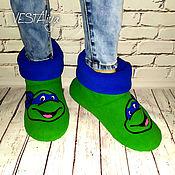 Обувь ручной работы handmade. Livemaster - original item Slippers-boots teenage mutant Ninja Turtles. Handmade.