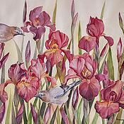 Картина акварелью Сойки в ирисах - весенние прятки