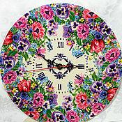 Для дома и интерьера handmade. Livemaster - original item Watch Pansies decoupage. Handmade.