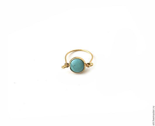 Кольца ручной работы. Ярмарка Мастеров - ручная работа. Купить Крошечное кольцо с бирюзой. Handmade. Подарок, кольцо, позолоченное кольцо
