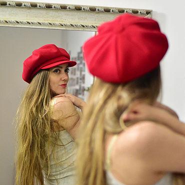 Аксессуары ручной работы. Ярмарка Мастеров - ручная работа Дерзкая красная кепка восьмиклинка. Handmade.