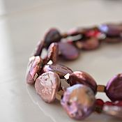 Украшения handmade. Livemaster - original item Multi-row necklace of pearls BURGUNDY. Handmade.