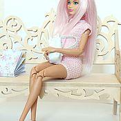 Куклы и игрушки ручной работы. Ярмарка Мастеров - ручная работа Вязаное платье с воротничком для Барби. Handmade.