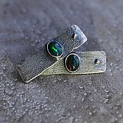 Украшения handmade. Livemaster - original item Earrings with black opals, silver, goldfield and gold. Handmade.