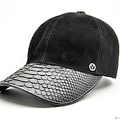 Аксессуары handmade. Livemaster - original item Baseball cap made of Python skin and natural suede, in black.. Handmade.