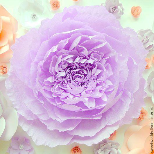 """Свадебные цветы ручной работы. Ярмарка Мастеров - ручная работа. Купить Бумажный цветок """"Сиреневый пион"""". Handmade. Декор"""