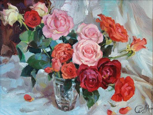 Картины цветов ручной работы. Ярмарка Мастеров - ручная работа. Купить Подмосковные розы.. Handmade. Ярко-красный, розовый, розы