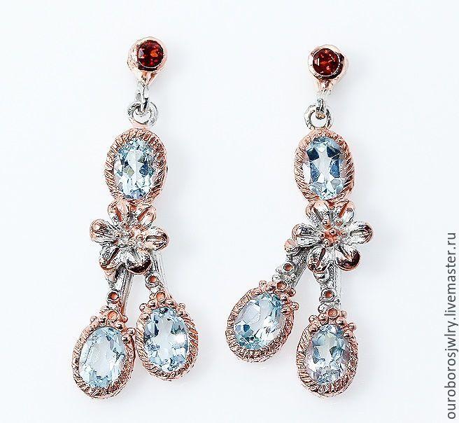 Earrings with blue Topaz, Earrings, Novosibirsk,  Фото №1