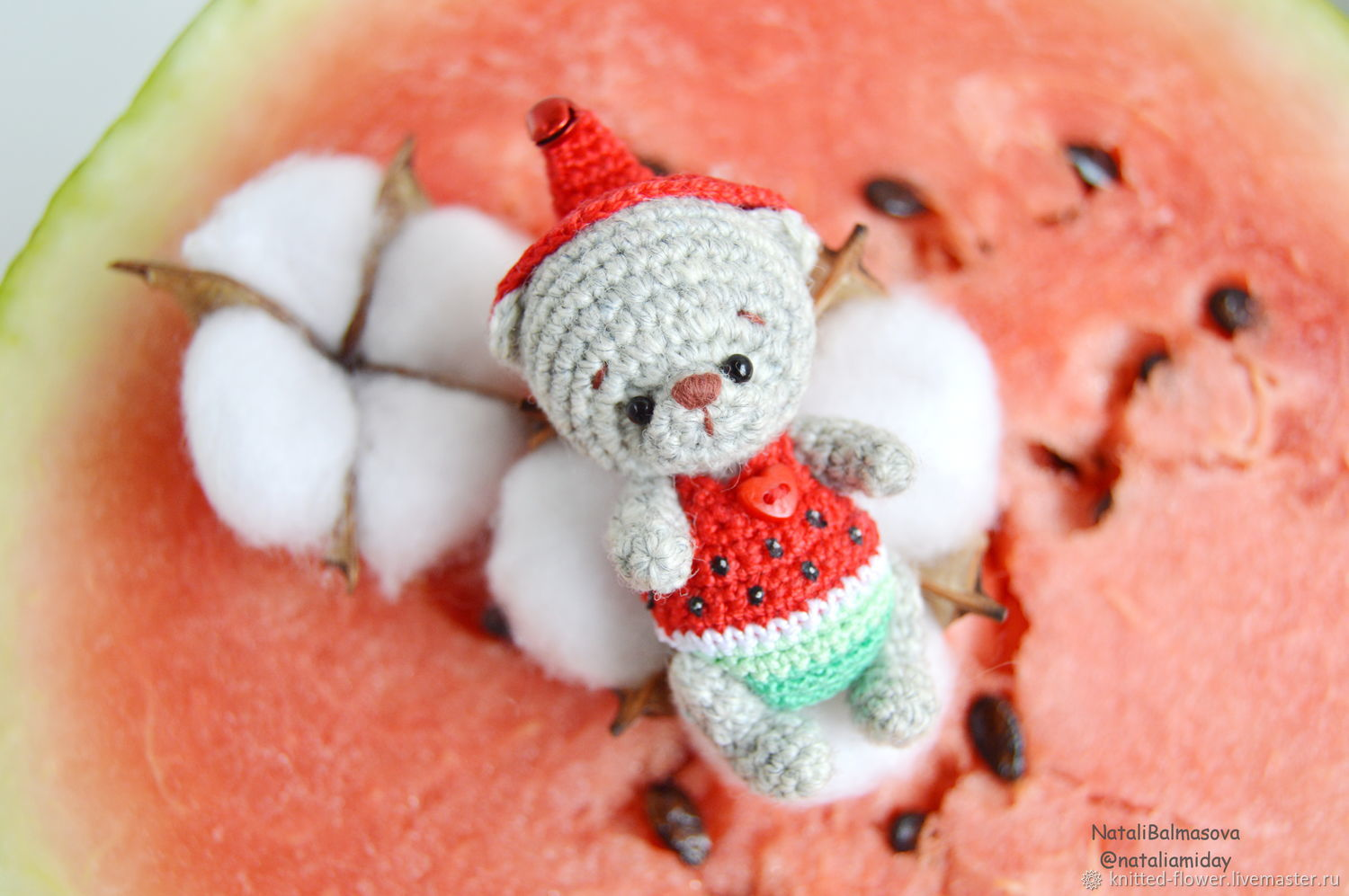 Bear watermelon knitted toy in clothing, Stuffed Toys, Sosnovyj Bor,  Фото №1