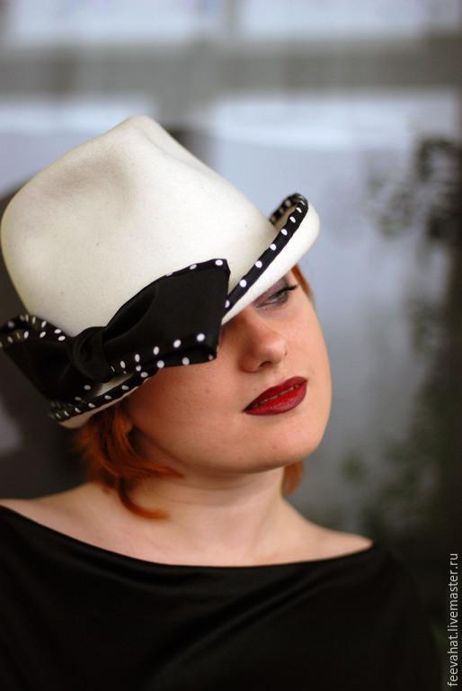 """Шляпы ручной работы. Ярмарка Мастеров - ручная работа. Купить Шляпа """"Белая с бантом в горошек"""". Handmade. Белый, белая шапка"""
