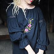 """Одежда ручной работы. Ярмарка Мастеров - ручная работа Нарядная черная блуза с вышивкой """"Алая роза"""". Handmade."""