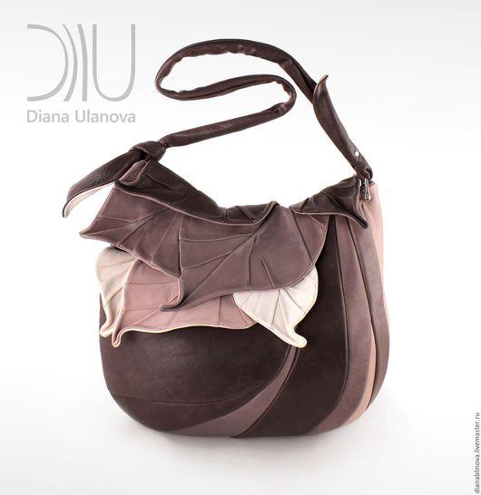 """Женские сумки ручной работы. Ярмарка Мастеров - ручная работа. Купить """"Листья макси"""" мокко. Handmade. Однотонный, Красивая сумка"""