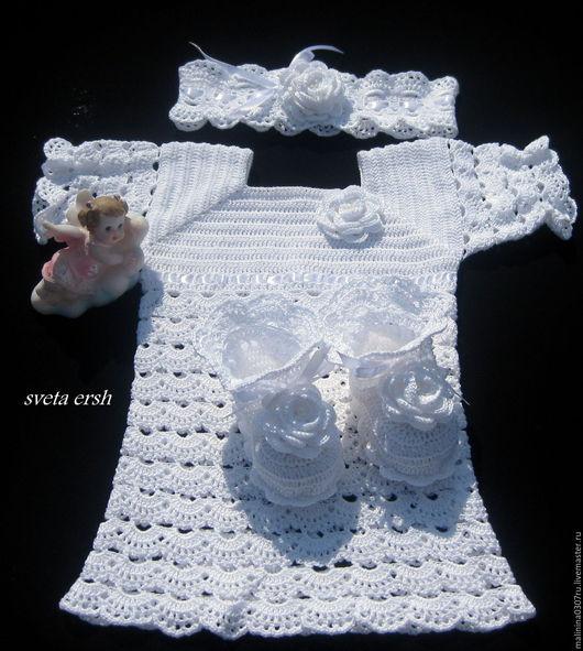 Крестильные принадлежности ручной работы. Ярмарка Мастеров - ручная работа. Купить для ангела. Handmade. Белый, ажурное платье, одежда для крещения