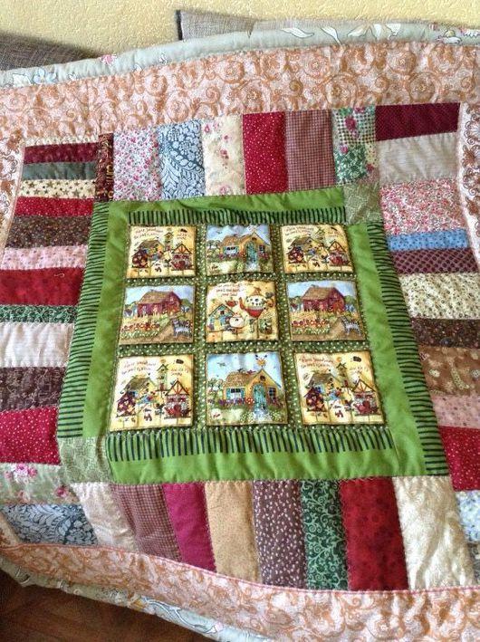 Пледы и одеяла ручной работы. Ярмарка Мастеров - ручная работа. Купить Домик в деревне. Handmade. Домик, лоскутное одеяло