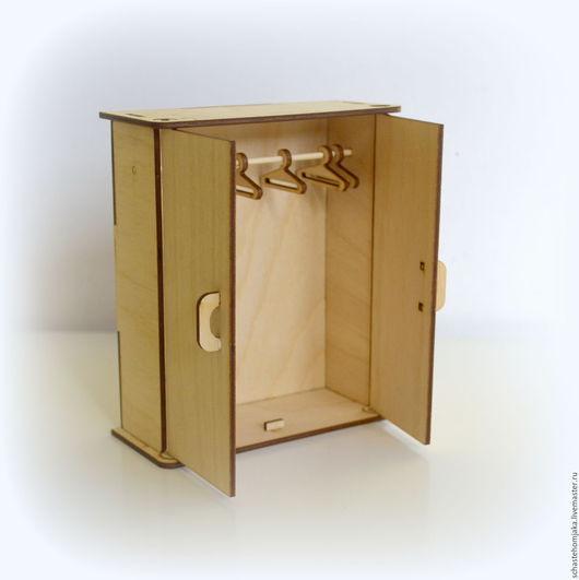 Кукольный дом ручной работы. Ярмарка Мастеров - ручная работа. Купить Шкаф для кукольного домика c вешалками. Handmade. Бежевый