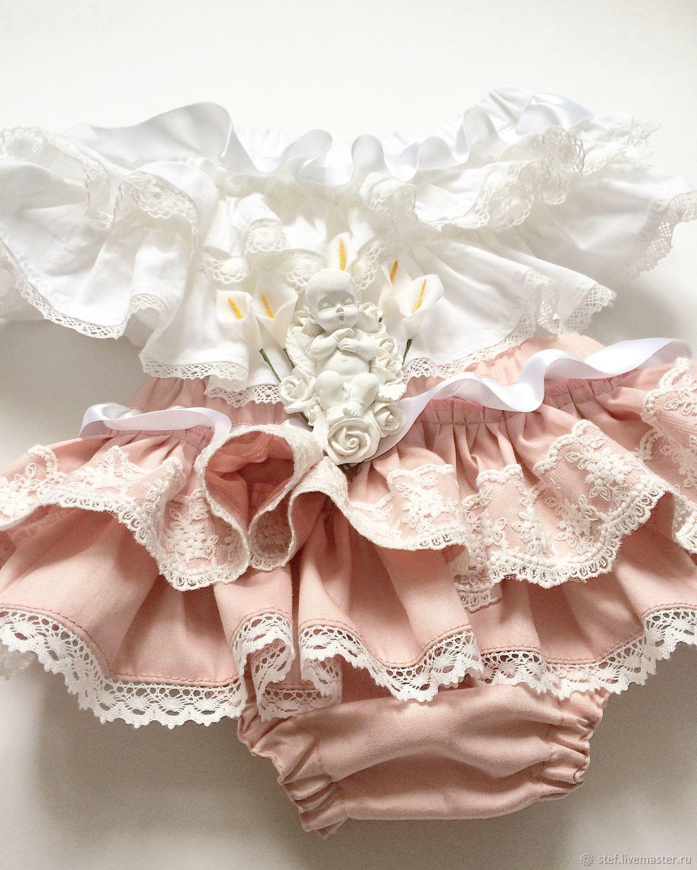 Трусики на памперс Блумеры с кружевом розовые