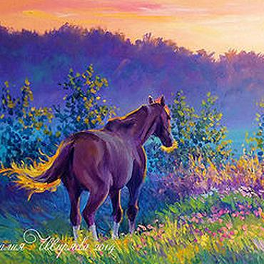 """Картины и панно ручной работы. Ярмарка Мастеров - ручная работа Картина с лошадью """"Утро в Полях"""" (холст, масло). Handmade."""