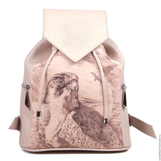 """Рюкзаки ручной работы. Ярмарка Мастеров - ручная работа. Купить Рюкзак из кожи """"Сокол"""". Handmade. Бежевый, птица, рюкзак, рюкзак"""