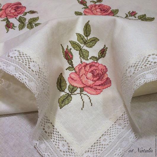 """Текстиль, ковры ручной работы. Ярмарка Мастеров - ручная работа. Купить Винтажная льняная скатерть с вышивкой """"Бутоны роз""""-2. Handmade."""