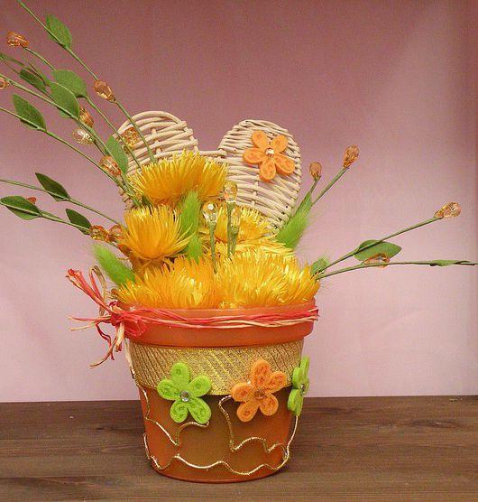 """Интерьерные композиции ручной работы. Ярмарка Мастеров - ручная работа. Купить Композиция  из сухоцветов """"Солнце"""". Handmade."""
