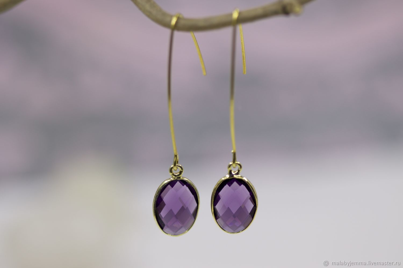 Amethyst Mood drop earrings-pendants Capricorn Aquarius Sagittarius, Earrings, Magnitogorsk,  Фото №1
