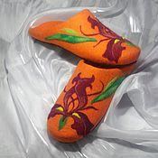 Обувь ручной работы. Ярмарка Мастеров - ручная работа Ирисы в солнечном свете. Валяные тапочки.. Handmade.