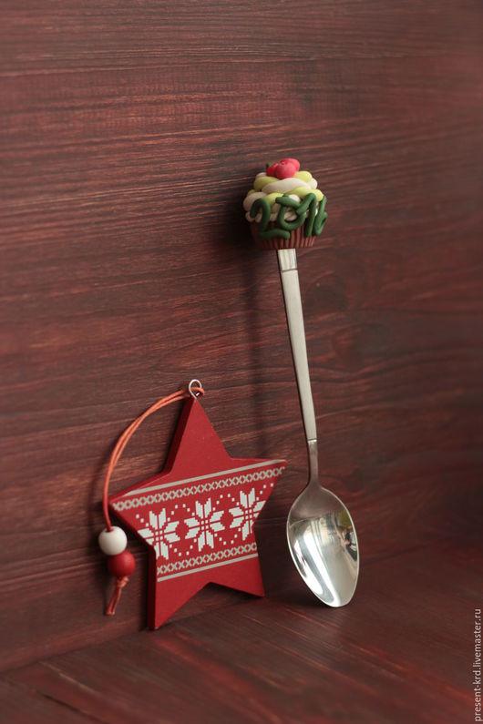 Ложки ручной работы. Ярмарка Мастеров - ручная работа. Купить Новогодняя ложечка с украшением. Handmade. Комбинированный, ложка, ложка с декором