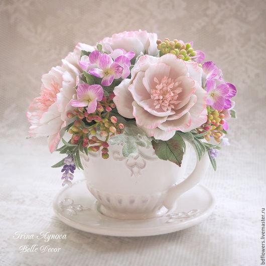 Цветы ручной работы. Ярмарка Мастеров - ручная работа. Купить Цветочная композиция в чашечке (нежно-розовая) №6. Handmade.