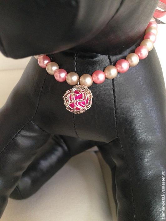 """Аксессуары для собак, ручной работы. Ярмарка Мастеров - ручная работа. Купить Ожерелье-украшение на шею """"Шик Модерн"""". Handmade. Розовый"""