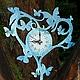Часы для дома ручной работы. Ярмарка Мастеров - ручная работа. Купить Ажурные часики. Handmade. Голубой, часы для дома, незабудки